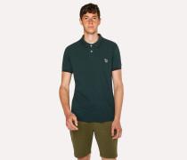 Slim-Fit Dark Green Zebra Polo Shirt With Black Tipping