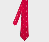 Red 'Cyclist' Embroidered Silk Tie