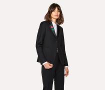 Black Wool-Mohair Blazer With Jewel Embellishment
