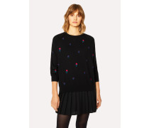 Black Embroidered Floral Merino Wool Sweater