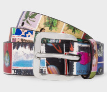 'Stamps' Print Leather Belt