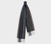 Charcoal Grey Multi-Coloured Stripe Lambswool Scarf