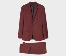 Mid-Fit Dark Red Wool-Mohair Suit