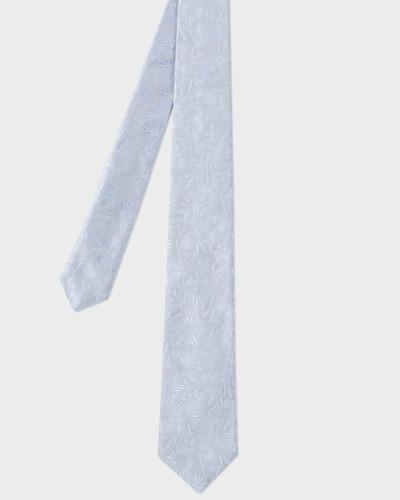 Light Blue Textured Floral Pattern Narrow Silk Tie