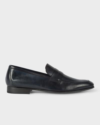 Dark Navy Leather 'Glynn' Penny Loafers