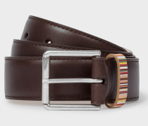 Dark Brown Leather Belt With 'Signature Stripe' Keeper