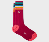 Burgundy 'Artist Stripe' Cuff Socks With Embroidered Motif