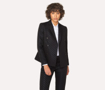 Black Polka Dot Jacquard Double-Breasted Blazer
