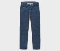 Tapered-Fit Indigo Stretch-Denim Jeans