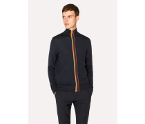 Dark Navy Wool 'Artist Stripe' Zip-Through Cardigan