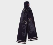 Navy 'Dino' Motif Wool Scarf