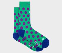 Green Polka Dot Cycling Socks