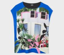 Blue Sleeveless 'Tropical Miami' Print T-Shirt