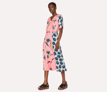 Pink 'Pacific Floral' V-Neck Dress