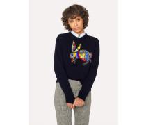 Navy Embroidered 'Karami Rabbit' Motif Sweater
