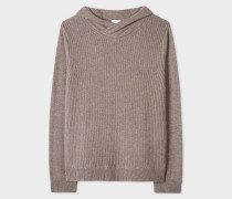 Taupe Ribbed Cashmere Hooded Sweater