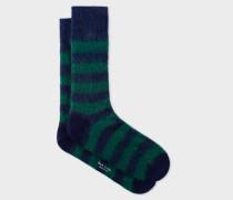 Green And Blue Stripe Mohair-Blend Socks