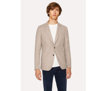 Tailored-Fit Beige Basket-Weave Wool Blazer