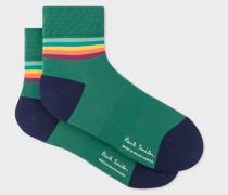 Forest Green 'Artist Stripe' Trim Cycling Socks