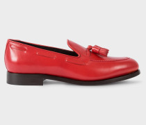 Red Leather 'Simmons' Tasseled Loafers