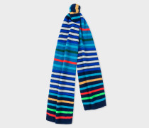 Navy Multi-Coloured Stripe Wool Scarf
