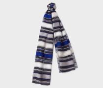 Navy Stripe Sheer Silk-Blend Scarf