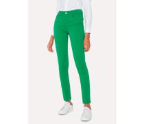 Skinny-Fit Green Denim Jeans