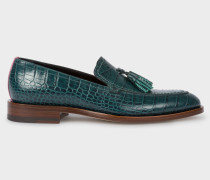 Teal Mock-Croc Leather 'Alexis' Loafers