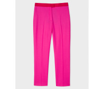 Slim-Fit Fuschia Wool Trousers With Contrasting Waistband