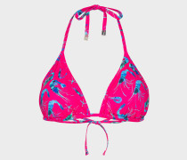 Fuchsia 'Prawn' Print Triangle Bikini Top