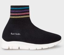 Black 'Blaze' Sock Trainers With Glitter Stripe Details