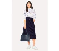 Indigo Corduroy A-Line Midi Skirt With Belt