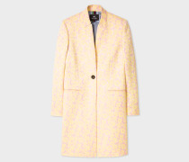 Yellow And Pink Floral Jacquard Epsom Coat