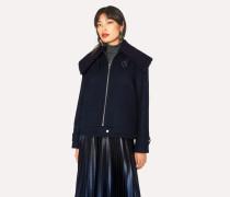 Navy Wool-Blend Jacket With Bouclé Collar