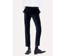 Slim-Fit Slate Blue Velvet Trousers