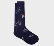 Navy 'Sun Doodle' Motif Socks