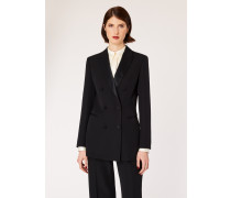 Black Double-Breasted Tuxedo Blazer With Satin Details