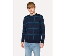 Reversible Navy Textured Check Merino-Cotton Sweater