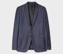 Slim-Fit Navy Check Wool Blazer