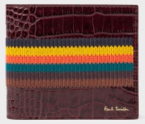 Burgundy 'Bright Stripe' Mock-Croc Leather Billfold Wallet