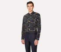Slim-Fit Black Shirt With 'Vintage Rings' Print