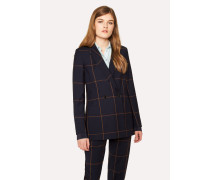 Navy Windowpane Check Double-Breasted Wool Blazer