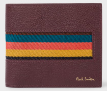 Burgundy 'Bright Stripe' Webbing Leather Billfold And Coin Wallet