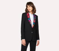 Black Shawl Collar Blazer With 'Ocean' Embroidery