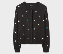Charcoal Grey Embroidered 'Urban Jungle' Motif Wool-Blend Cardigan