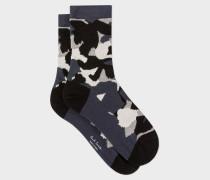 Black 'Floral Camouflage' Socks
