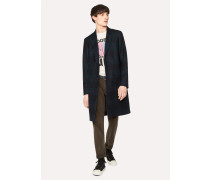 Navy Check Wool-Blend Epsom Coat