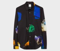 Super Slim-Fit Black 'Precious Stones' Print Shirt