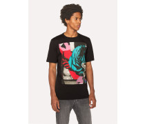 Black 'Rose Collage' Print Cotton T-Shirt