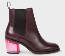 Bordeaux Leather 'Shelby' Boots With Pink Transparent Heels